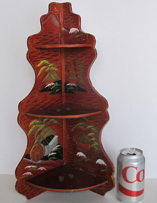 """Vintage Asian Japanese Hand Painted Lacquer 3 Tier Corner Shelf 19"""" tall"""
