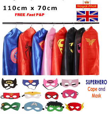 Adult Superhero Cape and Mask Men Women Fancy Dress Costume Stag Hen Party