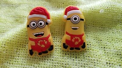 CHRISTMAS MINIONS shoe charms/cake toppers!! Cute PAIR! FAST FREE SHIPPING!