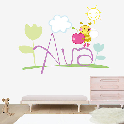 Name Wall Decal Bees Personalized Name Decal Kids Nursery Vinyl Decal Sticker