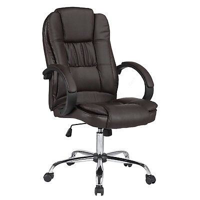 Luxury Leather Computer Desk Office Chair Swivel Executive Furniture Brown