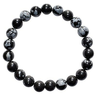 Premium CHARGED Snowflake Obsidian Crystal 8mm Stretchy Bracelet PROTECTION