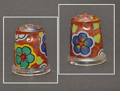 Hand Painted Glass Thimble - Flowers