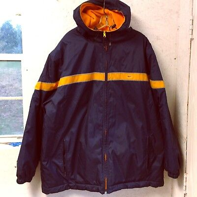 46a80f56aef8 VTG Nike Mens Hooded Reversible Jacket XL Oversized Blue Yellow Nylon Fleece