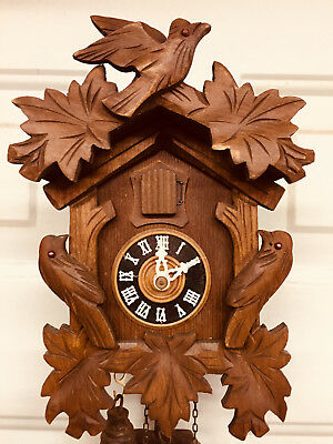 "Complete W.german Cuckoo Clock Size: 4"" X 6"" X 4"" Pendulum & Weights For Repair"