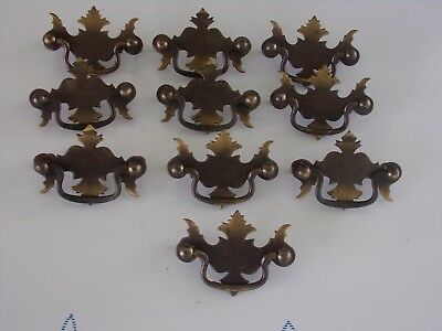 Lot Of 10 Vintage Brass Plated Drop Bail Chip&dale Style Drawer Pulls