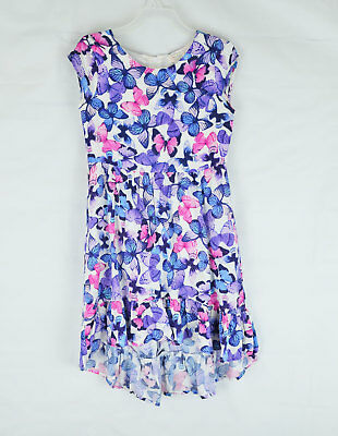 Childrens Place Girls Blue Purple Butterfly Sleeveless Hi-Lo Dress Size 10