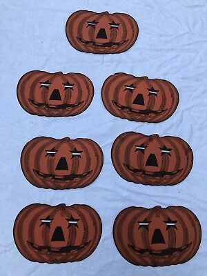 Lot of Seven Vintage Tip-Top Halloween Pumpkin Masks from 1948 in Good Condition