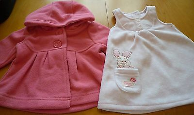 Fleece Coat and Disney Piglet Pinafore 0-3 Months, Excellent Condition By George