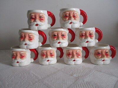 Lot 9 Vintage Santa Claus Face Ceramic Mugs Japan? Winking/Closed/Opened Eyes