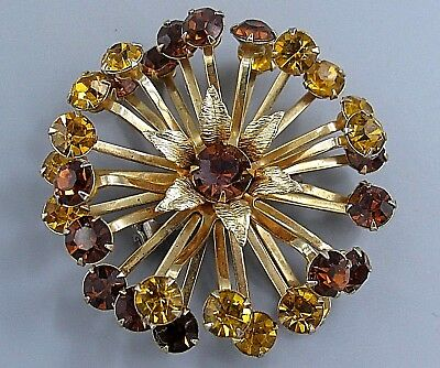 Vintage Jewelry High End Beau Jewels Amber Flower BROOCH PIN Rhinestone Lot O