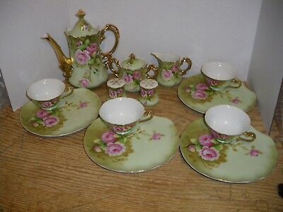 Lefton Green Heritage Rose Set Cup/Saucers Sugar Creamer Salt Pepper Coffee Pot