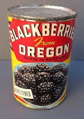 Vintage Paper Label Food Tin Can - Blackberries From Oregon - Circa 1950's