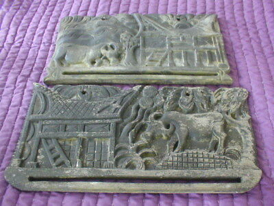 vintage carved oriental rustic folk art wooden wall plaques