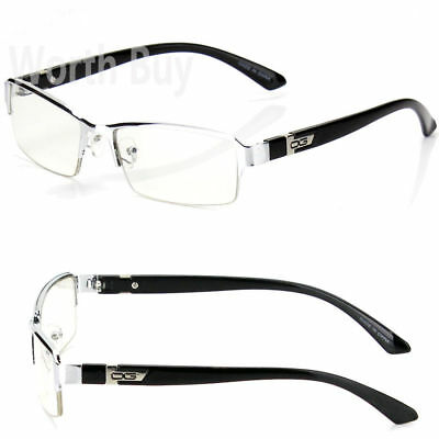 Mens Women DG Clear Lens Frame Glasses Designer Fashion Silver Black Rectangular