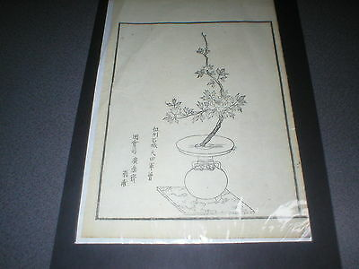 Vintage Japanese Pen and Ink Engraving on Flimsy Rice Paper of Flowers in a Vase