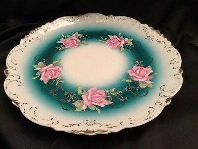 Vintage Imperial China Austria 12 Inch Plate Rose Design With Gold Filagree