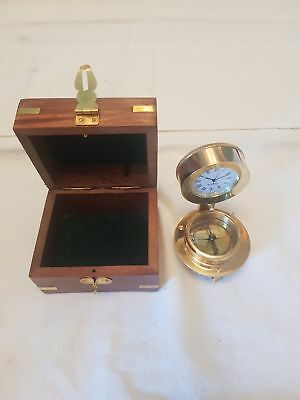 desk top clock and compass in a stylish wooden box #141