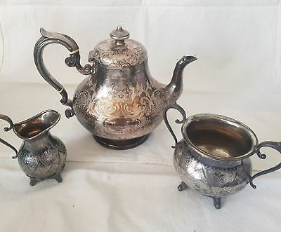 Electroplated silver Teapot, milk jug and sugar bowl with detailed pattern #361