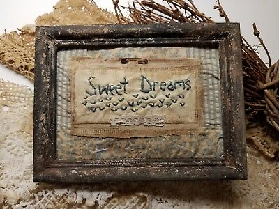 "Primitive Country Stitchery Home Decor 5x7 UNFRAMED ""Sweet Dreams"" Embroidery"