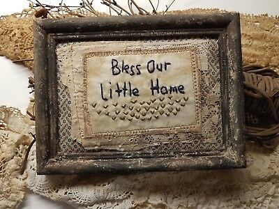 "Primitive Country Stitchery Home Decor 5x7 UNFRAMED ""Our Home"" Embroidery"