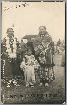 """Native Americans, Child, """"a Few Of Our Neighbors"""" 1910's Rppc Postcard"""