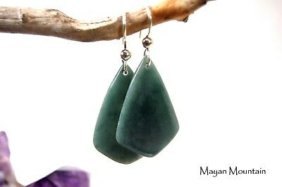 Ultra Thin & Translucent Fine Blue Guatemalan Jadeite Jade Silver Earrings 004