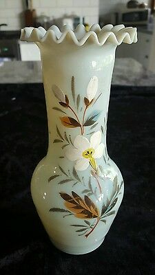 Victorian Hand Painted Milk Glass Vase. Floral Design. Ruffled Lip