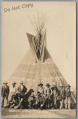 Arapaho Council House, St. Michael's Mission, Teepee, 1915's Rppc Postcard