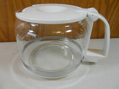 Mr. Coffee Replacement Carafe 10 Cup White Top & Handle Glass Decanter Pot