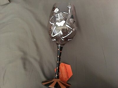 Lolita | CRAZY BONES Hand Painted Wine Glass Halloween Skeleton RETIRED
