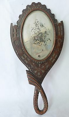 Antique Greek Balkan Wooden Folk Hand Made Mirror Traditional Carved victorian