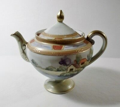 Antique Hand Painted NIPPON TEAPOT Colorful Scene/Gold Moriage Beading EXCELLENT
