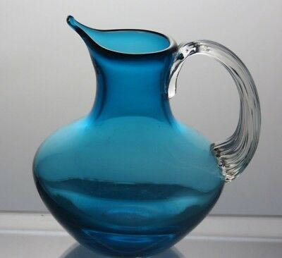 Vintage Lovely Blue And Clear Crystal Jug