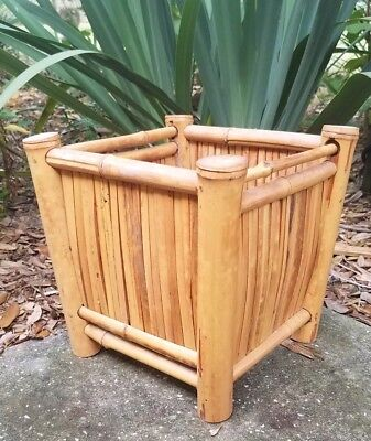 Vintage bamboo rattan wicker planter stand flower plant patio porch Mid-Century