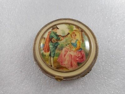 Vintage Unknown Maker Loose Powder Mesh Compact Beautiful Top Of Lovers