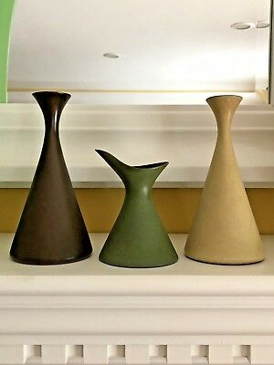 Vtg Hand Made Ceramic Mid Century Set Of 3 Bud Vases Hour Glass Shape - Drake