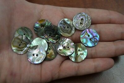 12 Pcs Round Abalone Shell Sewing Two Holes Buttons 20Mm #2291
