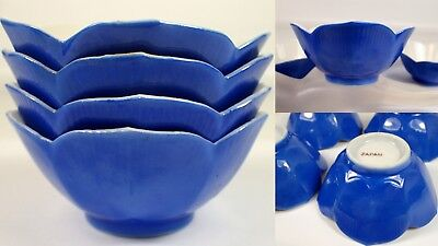 4 Vtg 1950s 60s Japan Porcelain Blue LOTUS Flower Blossom Rice Soup Bowl Set