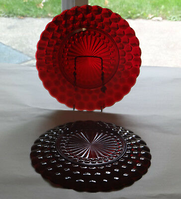 "2 Ruby Red Anchor Hocking Bubble Glass 9 1/2"" Dinner Plates"