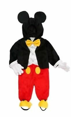 Disney Baby Mickey Mouse Costume One Piece Jump Suit Hoodie Ears 3 6 Months NEW