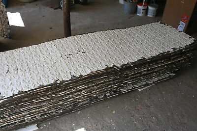 "~1,225 Sq Ft - Antique Tin 24"" X 96"" Architectural Salvage Pressed Ceiling Tiles"