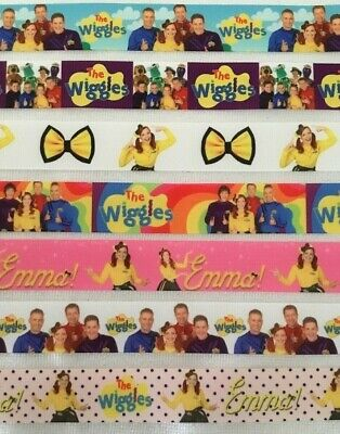 """Wiggles Grosgrain Ribbon all 7 designs are sold by 2M- 1"""" wide - Dummy clips etc"""