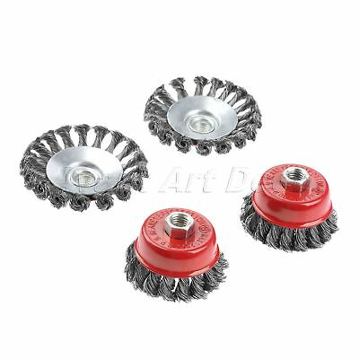 """4Pcs Twist Knot Semi Flat Wire Wheel Cup Brush Discs Set 3/4"""" For Angle Grinder"""