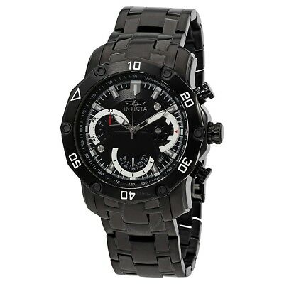 New Mens Invicta 22763 PRO DIVER SCUBA Chronograph Black Steel Bracelet Watch