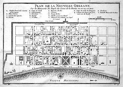 ca. 1750 New Orleans Louisiana Mississippi map Kupferstich antique print  155030