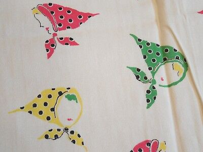 """Vintage 1950s Cotton Novelty Fabric, Girls w/ Headscarves, 36""""W x 1.5+Yds, Exc!"""