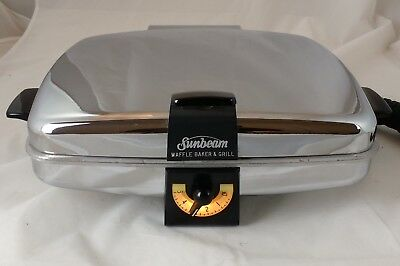 Vintage Chrome Sunbeam Electric Waffle Maker Grill Iron CG-1, Excellent