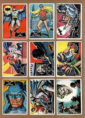 Complete Set of 1966 Topps Batman Trading Cards, 55 Card Black Bat Set