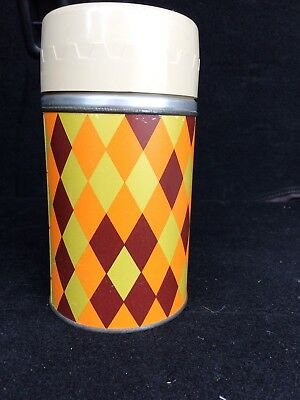 Vintage Rex Thermos - 10 oz. Diamond Harlequin Design Glass Insulated
